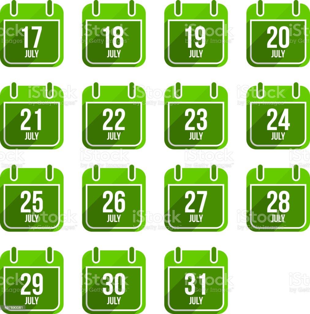July vector flat calendar icons. - Royalty-free Calendar stock vector