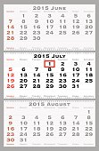2015 july with red dating mark - current marked holiday is Canada Day - vector illustration
