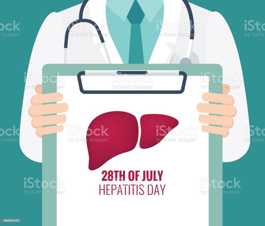 28 July world hepatitis day poster. vector art illustration