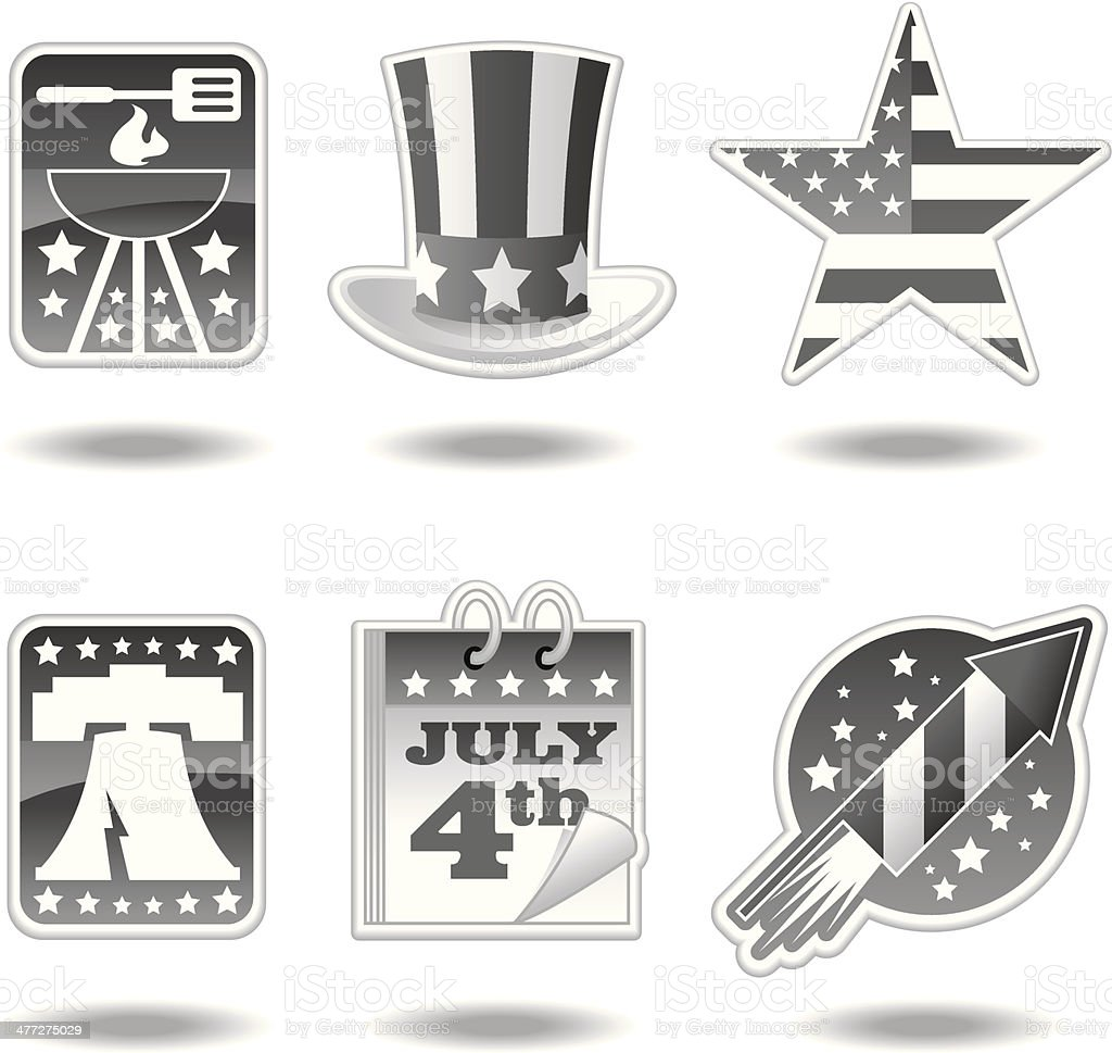 July4th Icons vector art illustration