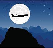 Jumbo jet against the moon