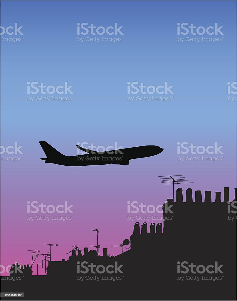 jumbo jet silhouetted above old roofscape vector art illustration