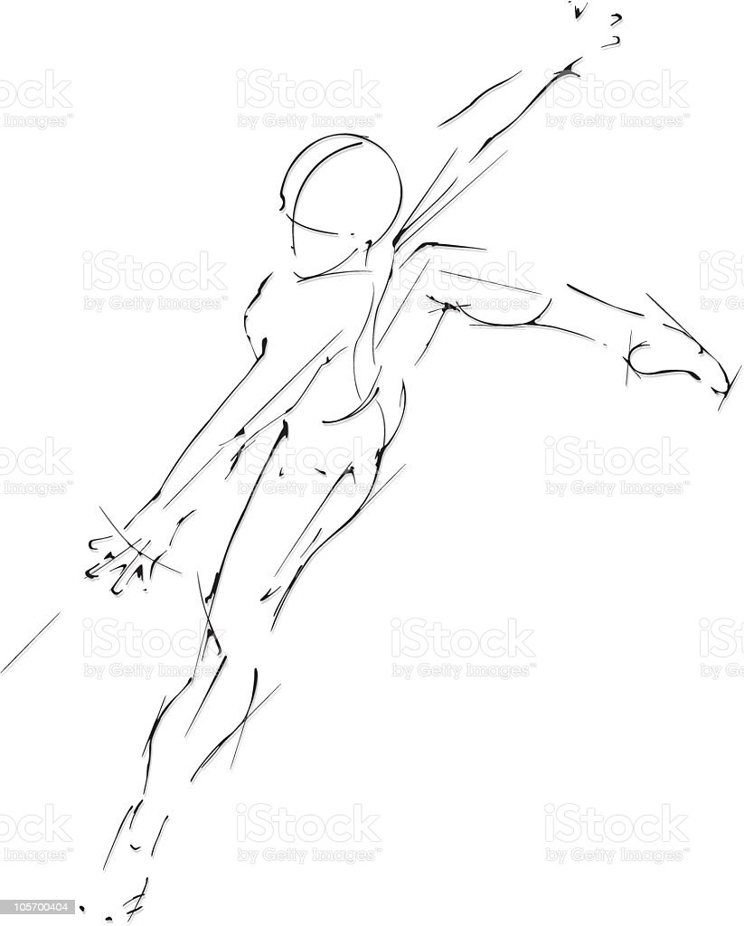 Jump ballet dancer vector art illustration