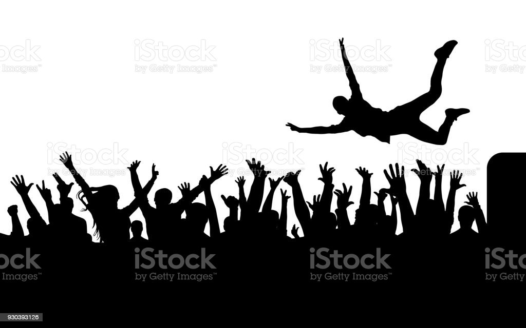 Jump from stage to crowd silhouette vector art illustration