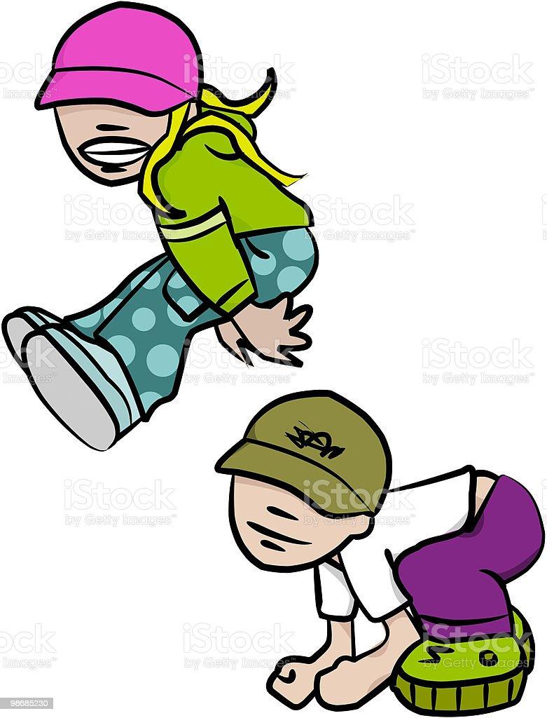 점프 Kids royalty-free 점프 kids 2차 도형에 대한 스톡 벡터 아트 및 기타 이미지