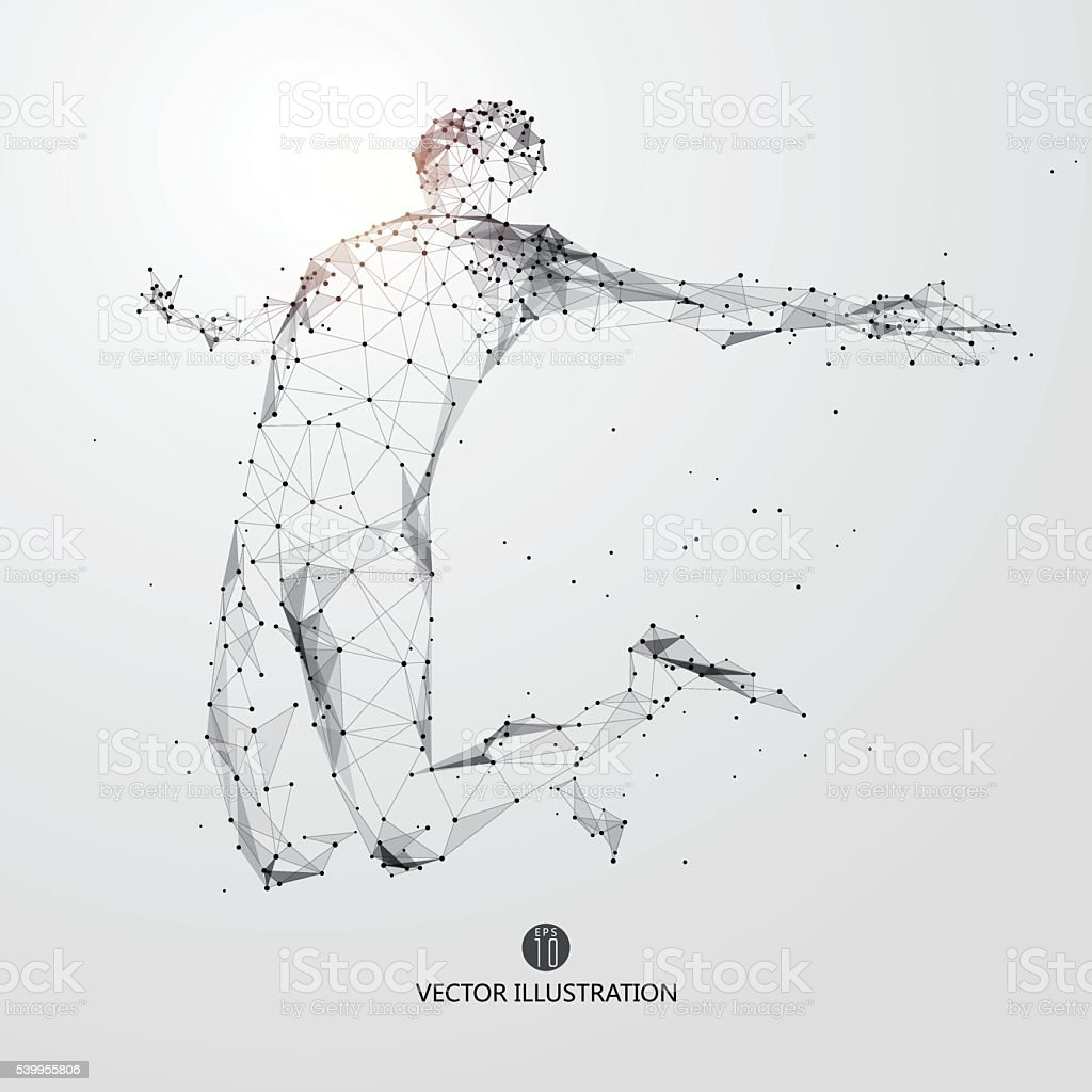 Jump man, points, lines and connected to form. vector art illustration