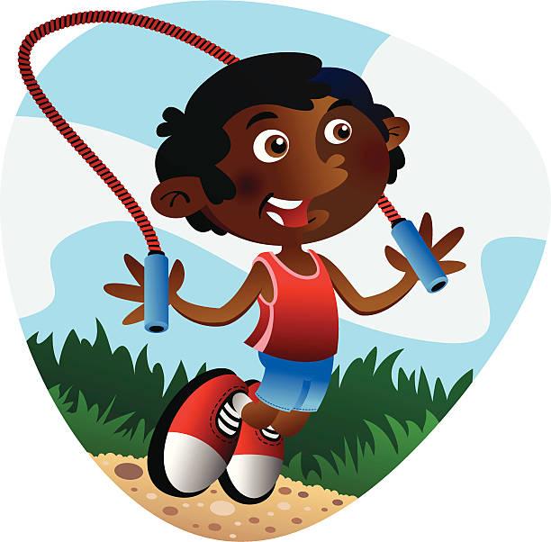 Jump Rope Boy vector art illustration