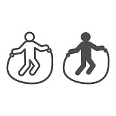 Jump rope exercise line and solid icon. Sportsman training, skipping-rope symbol, outline style pictogram on white background. Healthy lifestyle sign for mobile concept or web design. Vector graphics