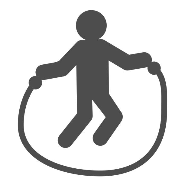 Jump rope exercise line and solid icon. Sportsman training, skipping-rope symbol, outline style pictogram on white background. Healthy lifestyle sign for mobile concept or web design. Vector graphics. Jump rope exercise line and solid icon. Sportsman training, skipping-rope symbol, outline style pictogram on white background. Healthy lifestyle sign for mobile concept or web design. Vector graphics active lifestyle stock illustrations