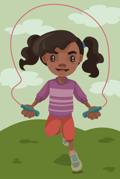 Jump Rope Lil' Girl vector art illustration