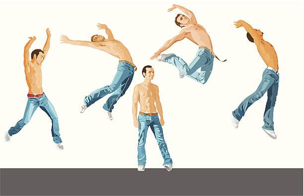 ilustrações de stock, clip art, desenhos animados e ícones de conjunto de saltar - tronco nu