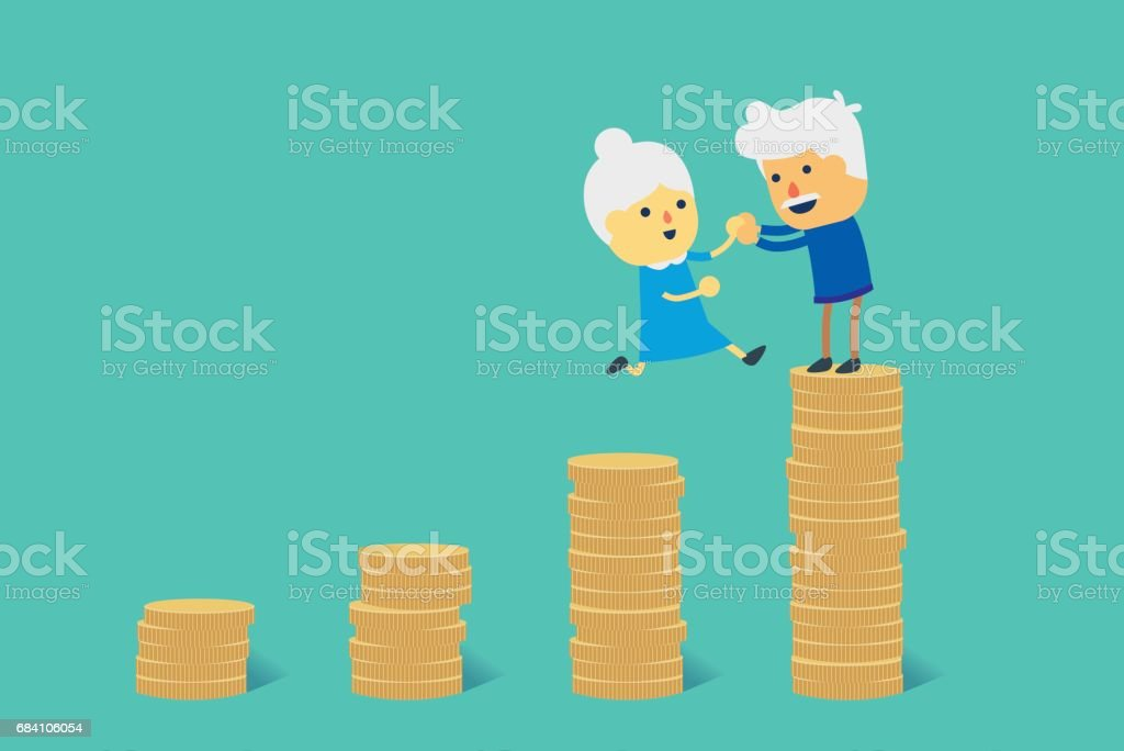 Jump to big pile of coin for financial goal to retirement. ベクターアートイラスト