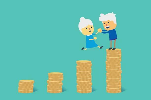 springen sie zu einem großen haufen von münze für finanzielle ziel in den ruhestand. - ruhestand stock-grafiken, -clipart, -cartoons und -symbole