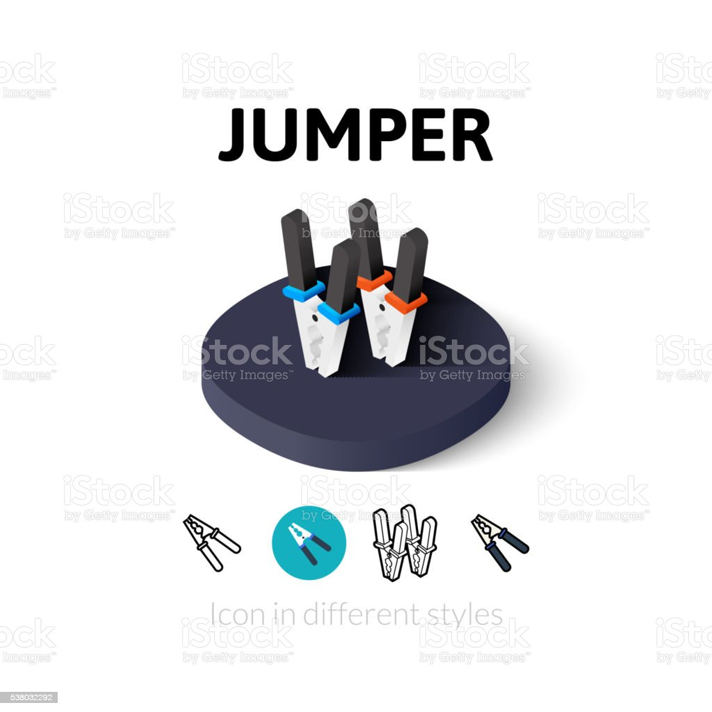 Jumper icon in different style vector art illustration