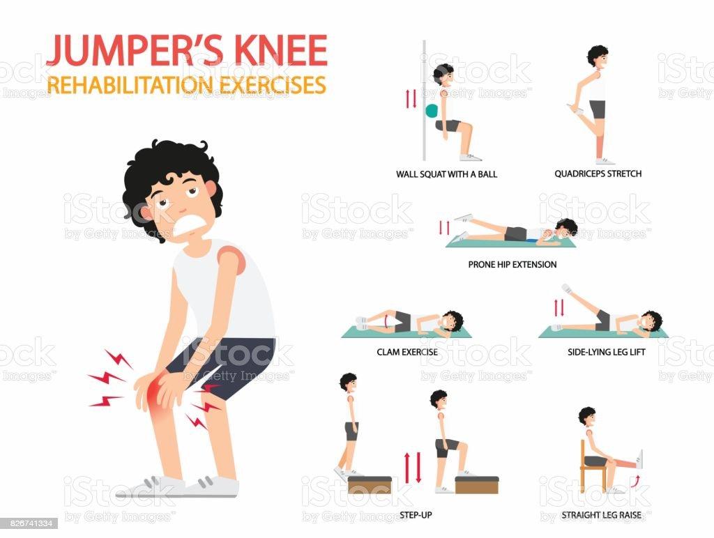 jumper's knee rehabilitation exercises infographic, illustration. vector art illustration