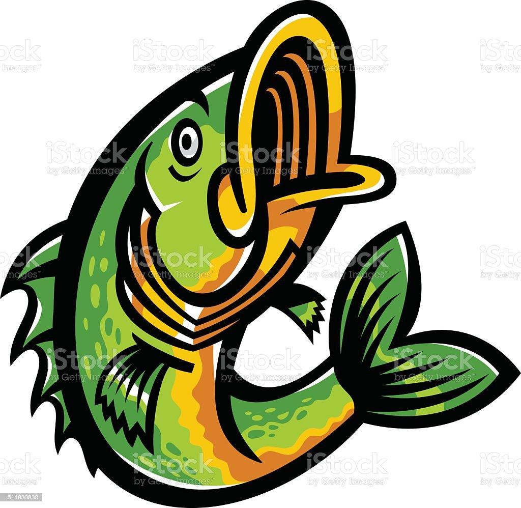 Jumping Bass Fish vector icon vector art illustration