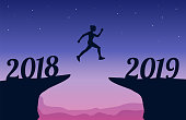 Jumping between 2018 and 2019 New Year. New Year 2019 concept. Vector illustration