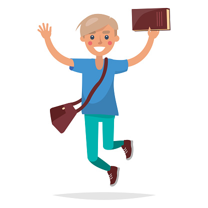 Jumping Blond Boy Student with Book Illustration