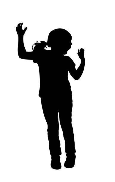 stockillustraties, clipart, cartoons en iconen met springen lichaam silhouet vector - alleen één meisje
