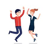 Happy jumping business people celebrating their success. Dancing businessman couple. Modern colorful flat style vector illustration isolated on white background.