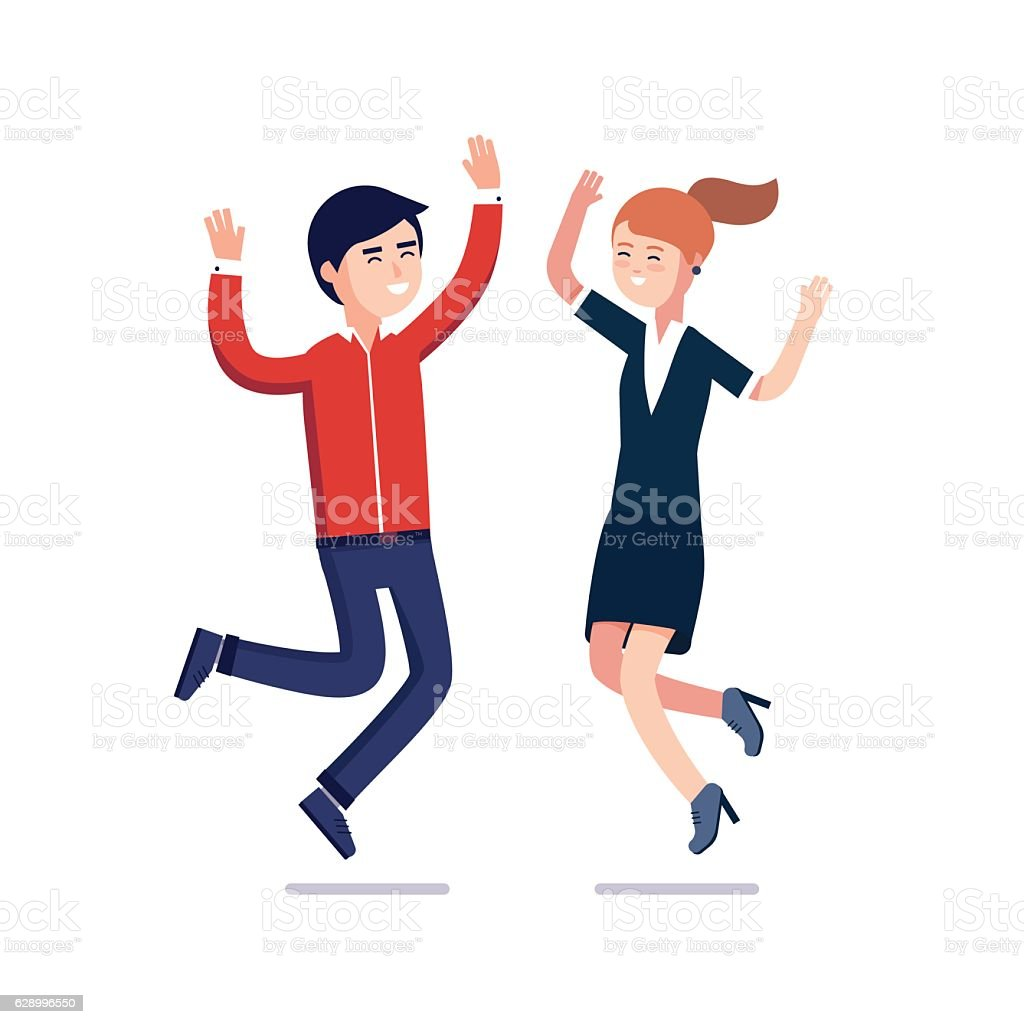 Jumping business people celebrating their success vector art illustration