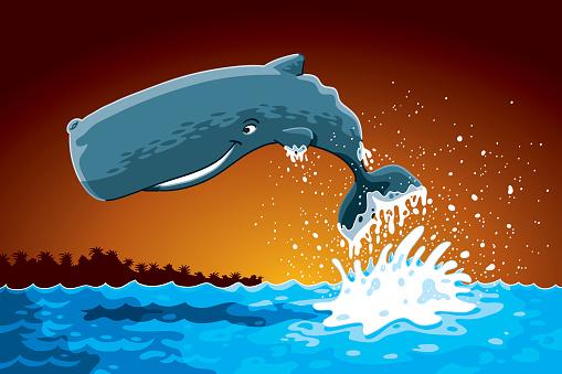 Jumping Cartoon Sperm Whale