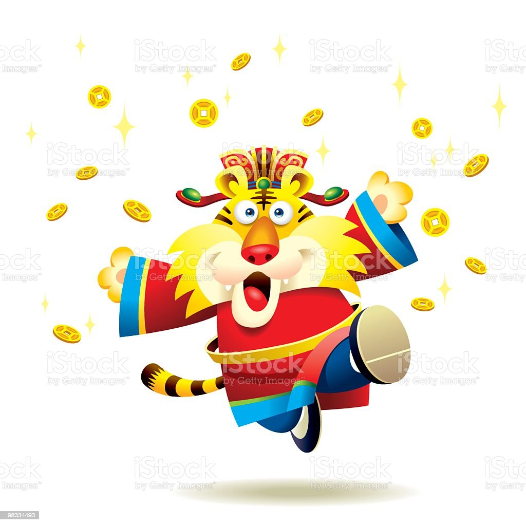 Jumping Chinese New year Tiger royalty-free jumping chinese new year tiger stock vector art & more images of animal