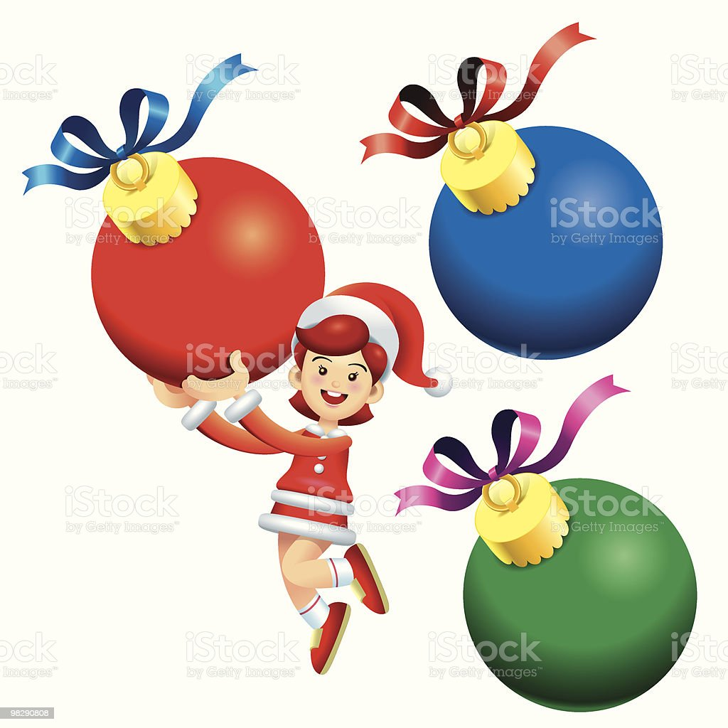 Jumping Christmas Ball Girl royalty-free jumping christmas ball girl stock vector art & more images of blue