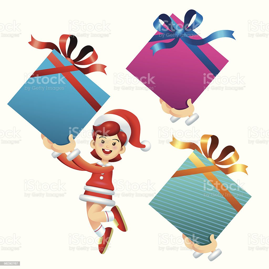 Jumping Christmas Girl with Present royalty-free jumping christmas girl with present stock vector art & more images of blue