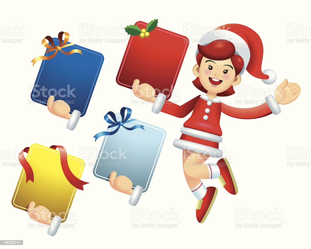 Jumping Christmas Message Board Girl royalty-free jumping christmas message board girl stock vector art & more images of blue
