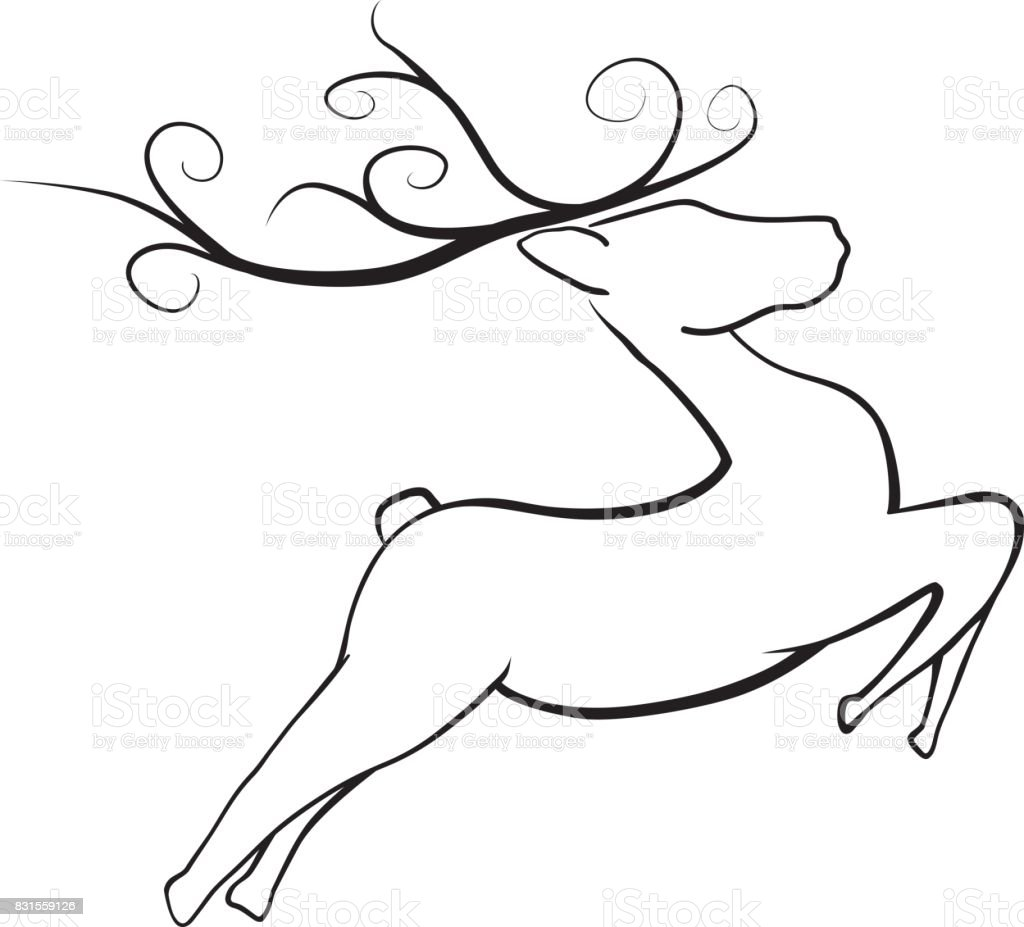 Line Drawing Reindeer : Jumping christmas reindeer stock vector art istock