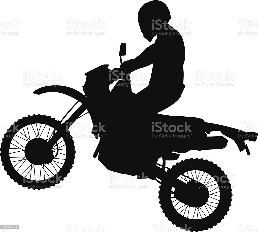 Jumping Dirtbike Silhouette vector art illustration