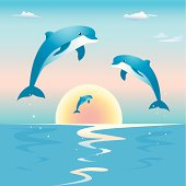 Jumping dolphins in front of a sunset over sea