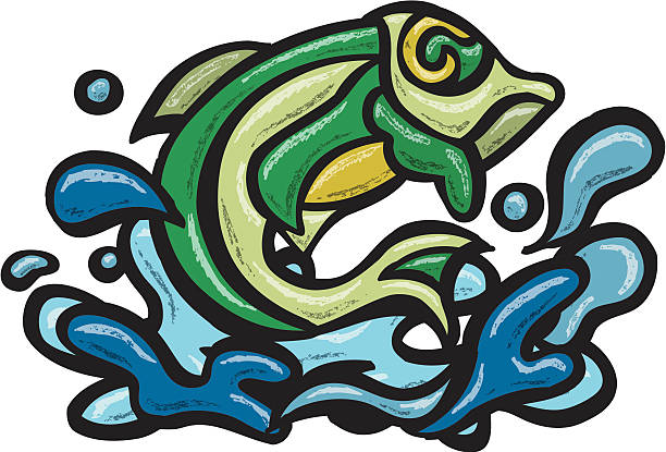 Jumping Fish vector art illustration