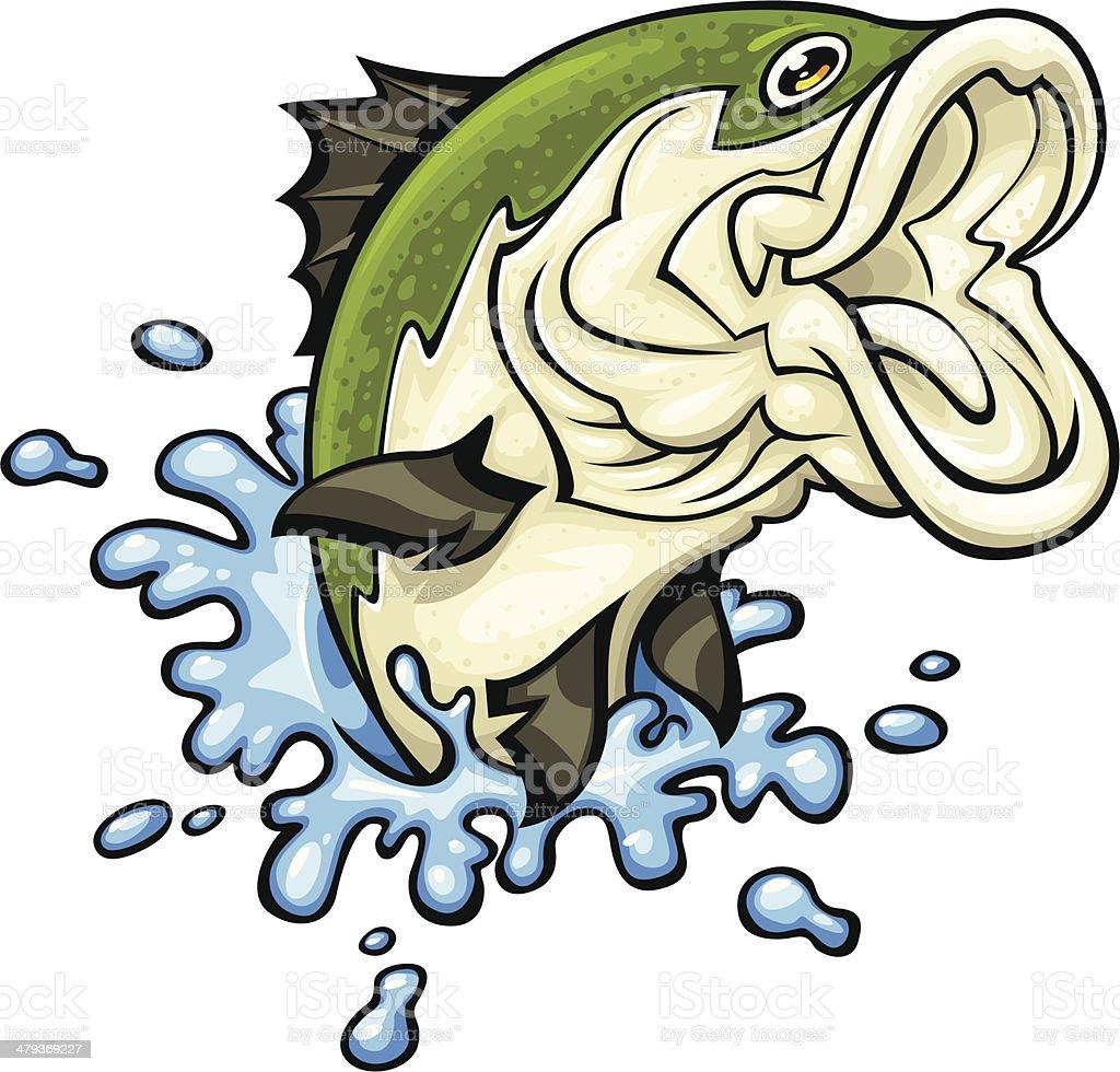 jumping fish vector art illustration