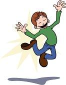 Un jeune homme cartoon saute de joie.