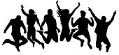 Jumping friends youth background. People jump vector silhouette. Cheerful man and woman isolated. Crowd jumping people, close to each other