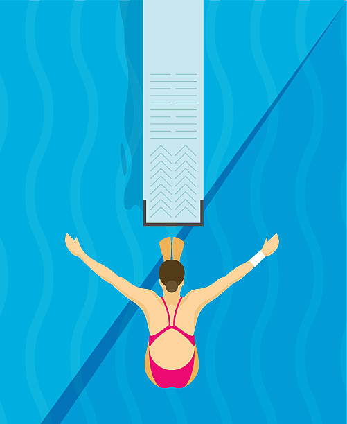 Jumping from diving board design Illustration An athlete Jumps from diving board design Illustration diving into water stock illustrations