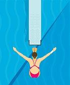 Jumping from diving board design Illustration