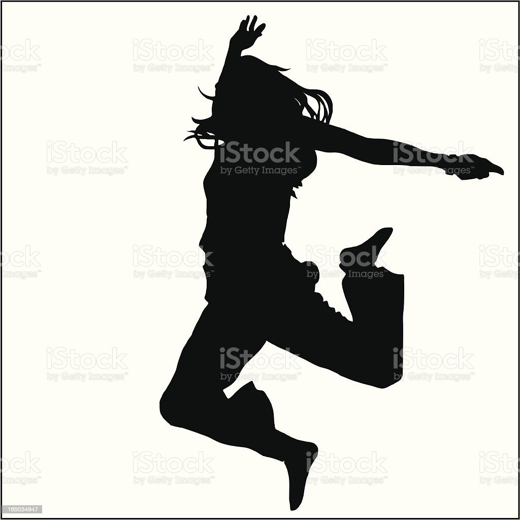 Jumping Girl 02 vector art illustration