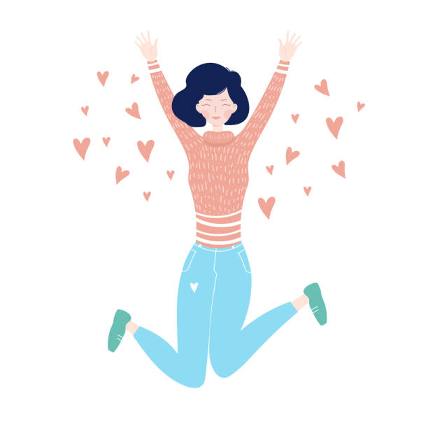 Jumping Girl Young girl jumping from happiness. Jumping girl on a white background with hearts. In love excitement stock illustrations