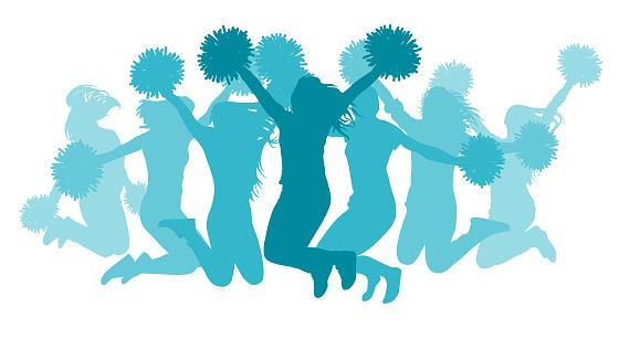 Jumping girls(cheerleaders) silhouette, isolated. Vector illustration.