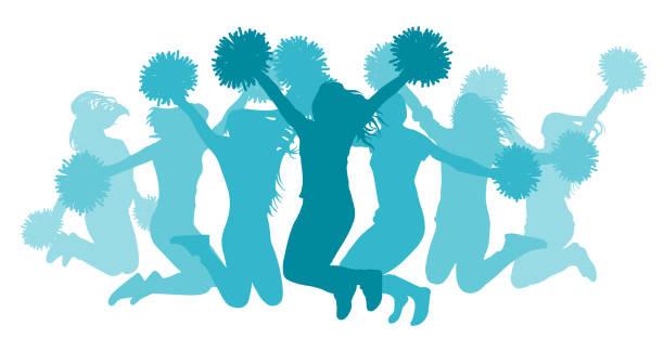 illustrations, cliparts, dessins animés et icônes de filles brandissant (cheerleaders) silhouette, isolé. illustration vectorielle. - sports lycée