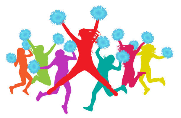 jumping girls with pompoms (cheerleaders) silhouette colorful. vector illustration - high school sports stock illustrations