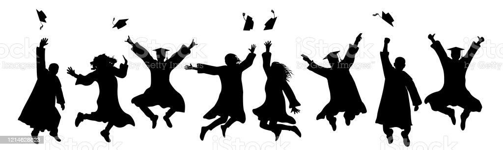 Jumping Graduates Throw Square Academic Caps Silhouette Of ...