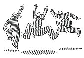 Hand-drawn vector drawing of three Jumping Happy Stick Figures. Black-and-White sketch on a transparent background (.eps-file). Included files are EPS (v10) and Hi-Res JPG.