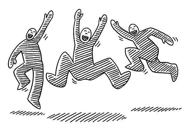 Jumping Happy Stick Figures Drawing Hand-drawn vector drawing of three Jumping Happy Stick Figures. Black-and-White sketch on a transparent background (.eps-file). Included files are EPS (v10) and Hi-Res JPG. celebration stock illustrations