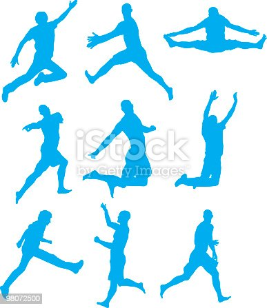 Jumping High Up In The Air Stock Vector Art & More Images of Adult 98072500