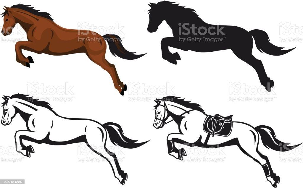 salto de caballo en silueta contorno de color - ilustración de arte vectorial