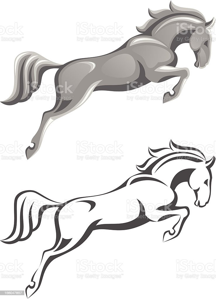 Jumping horse vector art illustration